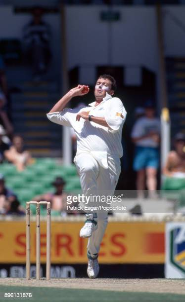 Angus Fraser bowling for England during the 5th Test match between Australia and England at the WACA Perth Australia 3rd February 1995 Australia won...