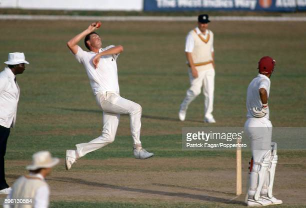 Angus Fraser bowling for England during the tour match between Jamaica and England XI at Sabina Park Kingston Jamaica 20th February 1990