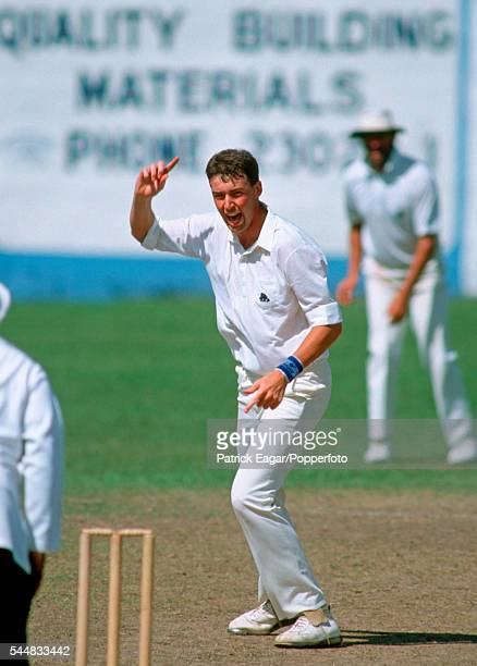 Angus Fraser of England appeals for a wicket during the 3rd One Day International between West Indies and England at Sabina Park Kingston Jamaica 3rd...