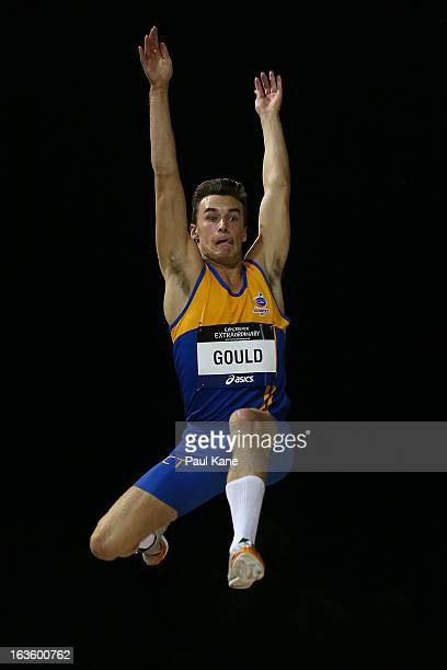 Angus Gould of the ACT competes in the men's under 20 long jump during day two of the Australian Junior Championships at the WA Athletics Stadium on...
