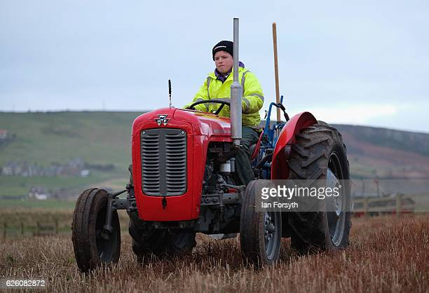Angus Grey from Darlington is the youngest competitior in the annual ploughing match on November 27, 2016 in Staithes, United Kingdom. The event...