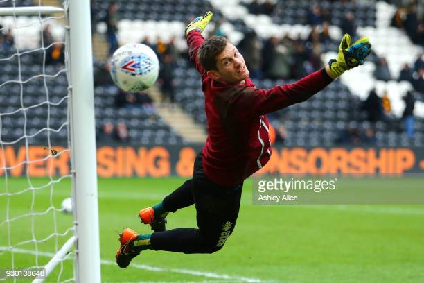 Angus Gunn goalkeeper of Norwich City takes part in prematch drills during the Sky Bet Championship match between Hull City and Norwich City at KCOM...