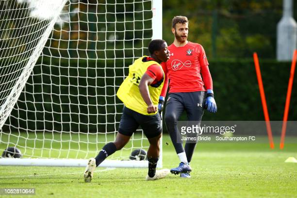 Angus Gunn Michael Obafemi during a first team training session at Staplewood Complex on October 23 2018 in Southampton England
