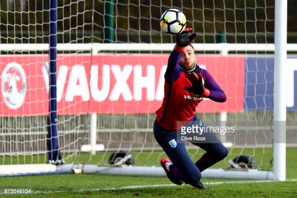 Angus Gunn of England during an England training session ahead of the International Friendly match between England and Brazil on November 13 2017 in...