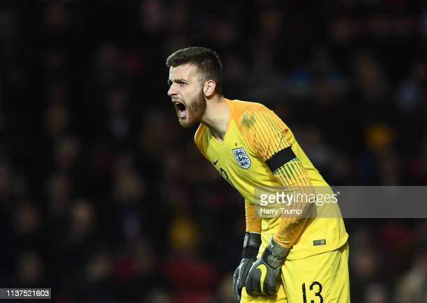 Angus Gunn of England during the U21 International Friendly match between England and Poland at Ashton Gate on March 21 2019 in Bristol England