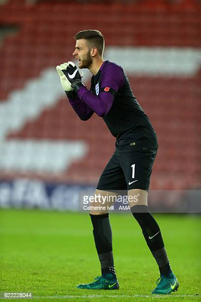 Angus Gunn of England U21 during the U21 International Friendly match between England and Italy at St Mary's Stadium on November 10 2016 in...