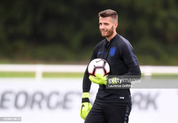Angus Gunn of England U21 looks on during an England training session at St Georges Park on September 4 2018 in BurtonuponTrent England