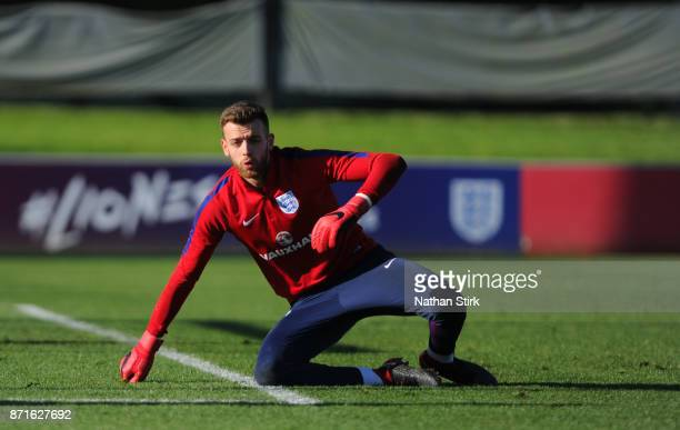 Angus Gunn of England U21's during a training session at St Georges Park on November 8 2017 in BurtonuponTrent England