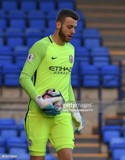 Angus Gunn of Manchester City in action during the Liverpool v Manchester City Premier League 2 game at Prenton Park on April 24 2017 in Birkenhead...