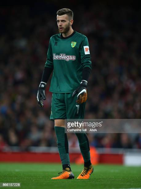Angus Gunn of Norwich City during the Carabao Cup Fourth Round match between Arsenal and Norwich City at Emirates Stadium on October 24 2017 in...