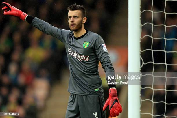 Angus Gunn of Norwich City during the Sky Bet Championship match between Norwich City and Leeds United at Carrow Road on April 28 2018 in Norwich...