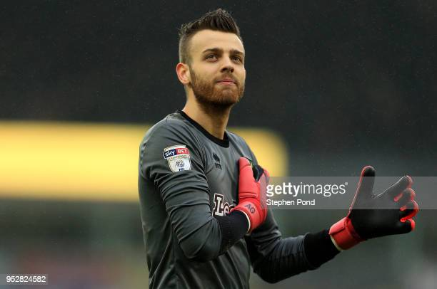 Angus Gunn of Norwich City leaves the field following victory during the Sky Bet Championship match between Norwich City and Leeds United at Carrow...