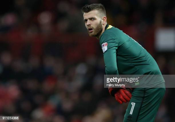 Angus Gunn of Norwich City looks on during the Sky Bet Championship match between Brentford and Norwich City at Griffin Park on January 27 2018 in...