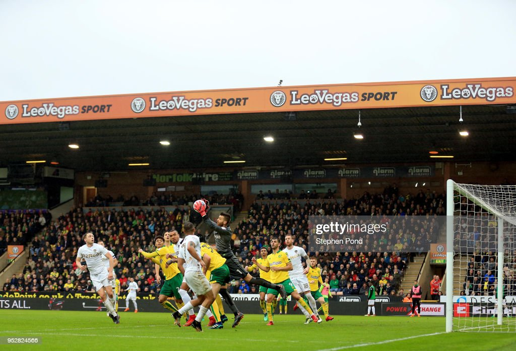 Angus Gunn of Norwich City makes a save during the Sky Bet Championship match between Norwich City and Leeds United at Carrow Road on April 28, 2018 in Norwich, England.