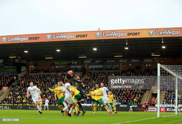 Angus Gunn of Norwich City makes a save during the Sky Bet Championship match between Norwich City and Leeds United at Carrow Road on April 28 2018...