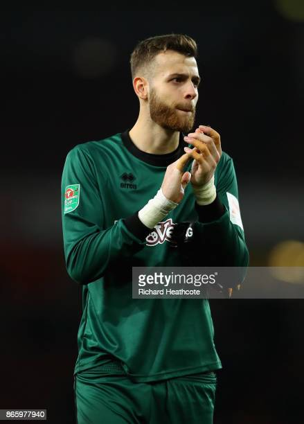 Angus Gunn of Norwich City shows appreciation to the fans after the Carabao Cup Fourth Round match between Arsenal and Norwich City at Emirates...