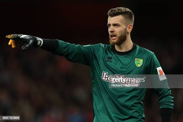 Angus Gunn of Norwich in action during the Carabao Cup Fourth Round match between Arsenal and Norwich City at Emirates Stadium on October 24 2017 in...
