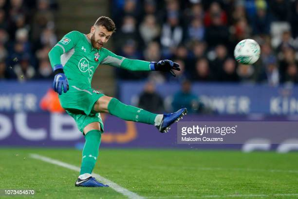 Angus Gunn of Southampton during the Carabao Cup Fourth Round match between Leicester City and Southampton at The King Power Stadium on November 27...