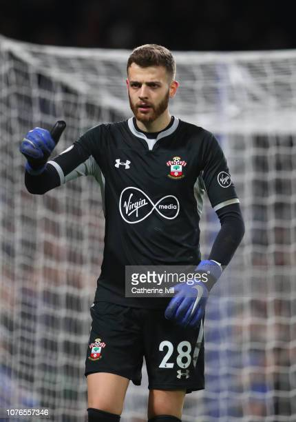 Angus Gunn of Southampton during the Premier League match between Chelsea FC and Southampton FC at Stamford Bridge on January 2 2019 in London United...