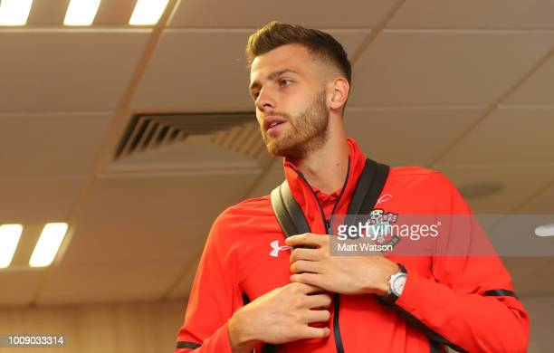 Angus Gunn of Southampton FC ahead of the preseason friendly match between Southampton and Celta Vigo at St Mary's Stadium on August 1 2018 in...