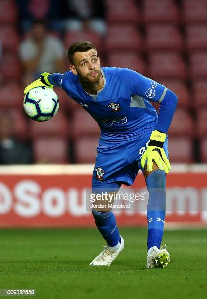 Angus Gunn of Southampton in action during the PreSeason Friendly match between Southampton and Celta Vigo at St Mary's Stadium on August 1 2018 in...