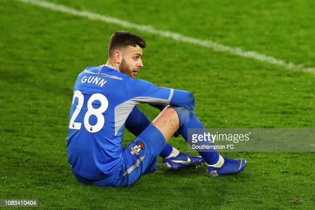 Angus Gunn of Southampton reacts after his team lose the penalty shoot out during the FA Cup Third Round Replay match between Southampton FC and...