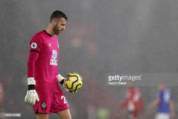 Angus Gunn of Southampton reacts during the Premier League match between Southampton FC and Leicester City at St Mary's Stadium on October 25 2019 in...