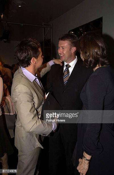 Angus Hawley with jounalist Peter Overton and Antonia Kidman at Australian Fashion Designer Lisa Ho's presentation of her high Summer 2003 - 2004...