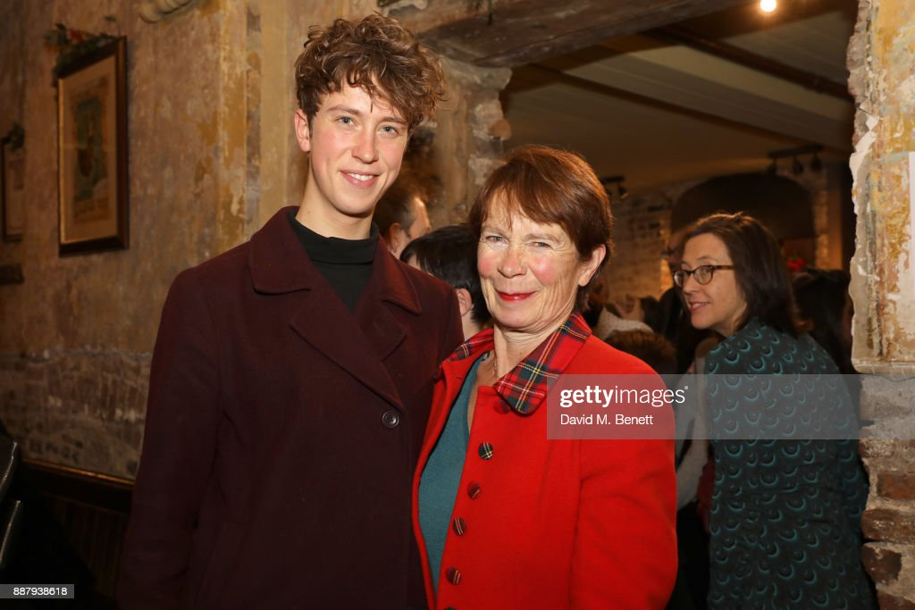Angus Imrie and Celia Imrie attend a drinks reception during the press night performance of 'The Box Of Delights' at Wilton's Music Hall on December 7, 2017 in London, England.