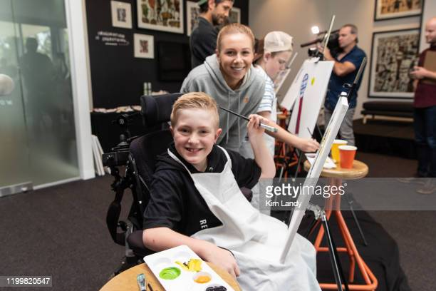 Angus Lloyd and Amanda Anisimova attend a life drawing class hosted by Art Series Hotels to support The Royal Children's Hospital Foundation at The...