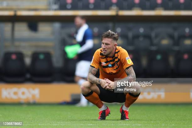 Angus MacDonald of Hull City reacts after the Sky Bet Championship match between Hull City and Luton Town at KCOM Stadium on July 18, 2020 in Hull,...