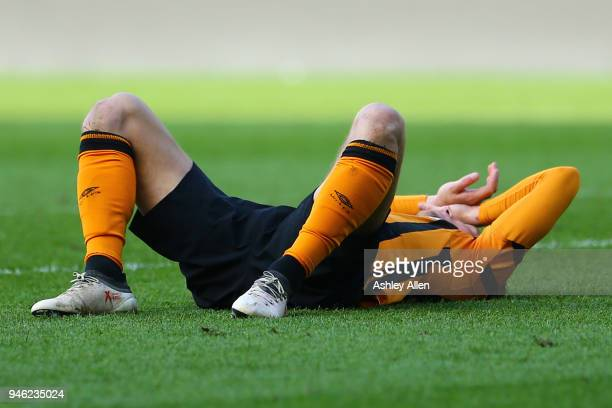 Angus MacDonald reacts after the final whistle during the Sky Bet Championship match between Hull City and Sheffield Wednesday at KCOM Stadium on...