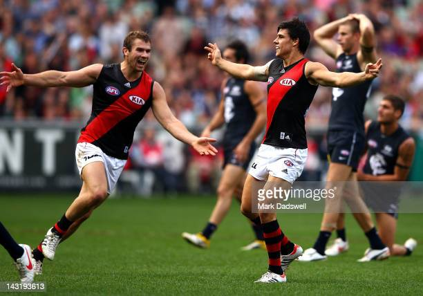 Angus Monfries of the Bombers celebrates a goal during the round four AFL match between the Carlton Blues and the Essendon Bombers at Melbourne...