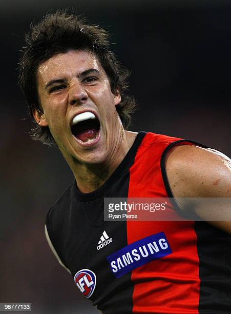 Angus Monfries of the Bombers celebrates after kicking a goal during the round six AFL match between the Essendon Bombers and the Hawthorn Hawks at...