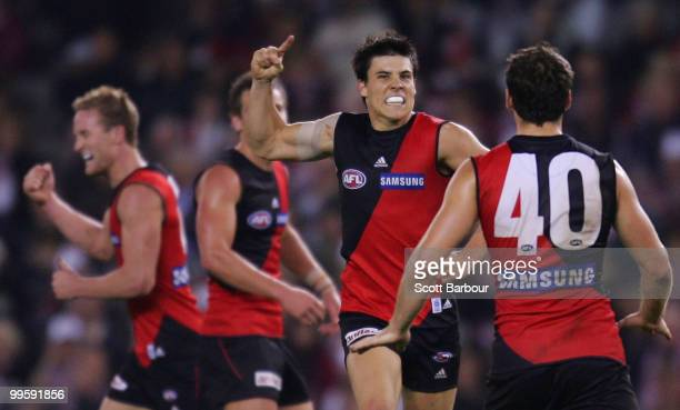 Angus Monfries of the Bombers celebrates after kicking a goal in the final quarter during the round eight AFL match between the St Kilda Saints and...