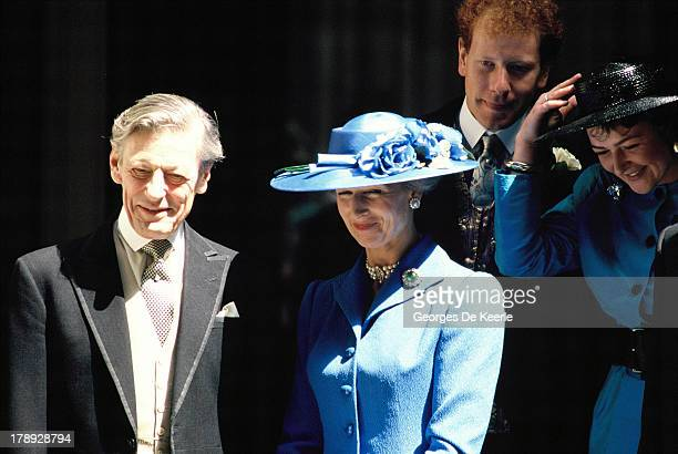 Angus Ogilvy and his wife Princess Alexandra attend the wedding of their son James Ogilvy and Julia Rawlinson at St Mary The Virgin Church on July 30...