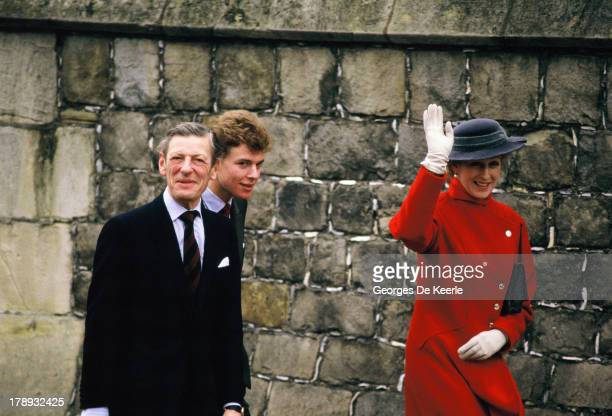 Angus Ogilvy his wife Princess Alexandra and their son James Ogilvy attend the Royal Christmas Service at St George's Chapel on December 25 1984 in...