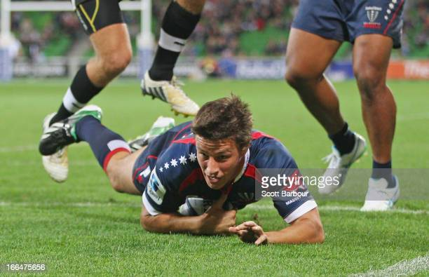 Angus Roberts of the Rebels scores a try during the round nine Super Rugby match between the Rebels and the Kings at AAMI Park on April 13 2013 in...