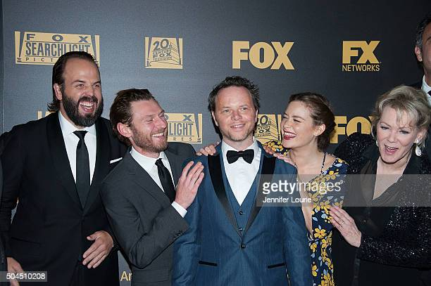 Angus Sampson, Keir O'Donnell, Noah Hawley, Rachel Keller, and Jean Smart arrive at Fox and FX's 2016 Golden Globe Awards Party on January 10, 2016...