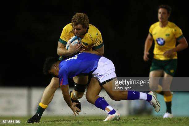Angus ScottYoung of Australia runs the ball during the 2017 Oceania Rugby Under 20 Championship match between Samoa and Australia at Bond University...