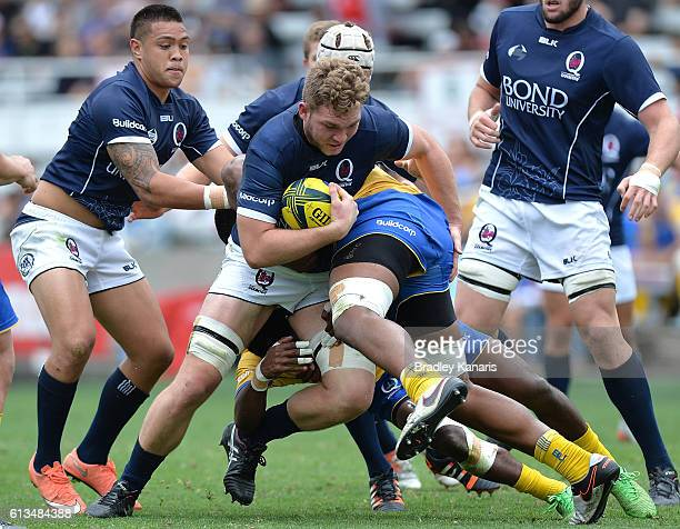 Angus ScottYoung of Country takes on the defence during the round seven NRC match between Brisbane City and Queensland Country at Ballymore Stadium...