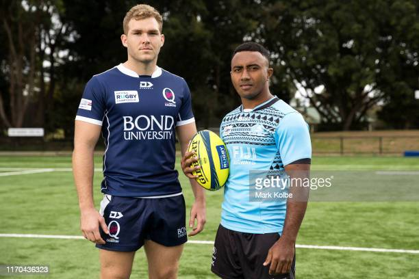 Angus ScottYoung of Queensland Country and Serupepeli Vularika of the Fijian Drua pose during the National Rugby Championship Launch at Easts Rugby...