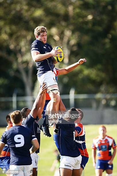 Angus ScottYoung of Queensland Country jumps at the lineout during the round five NRC match between the Western Sydney Rams and Queensland Country at...