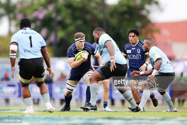 Angus ScottYoung of Queensland Country on the charge during the NRC Grand Final match between Fijian Drua and Queensland Country at Churchill Park on...