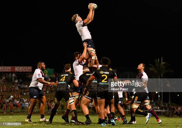 Angus ScottYoung of the Reds wins the ball in the line out throw during the Super Rugby preseason match between the Reds and the Chiefs at Ballymore...