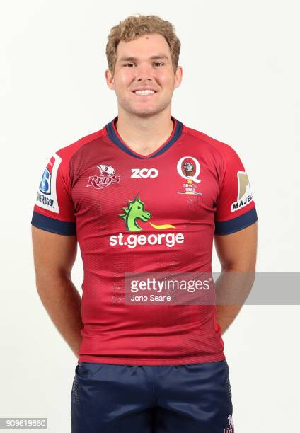 Angus ScottYoung poses during the Queensland Reds Super Rugby Headshots session on January 24 2018 in Brisbane Australia