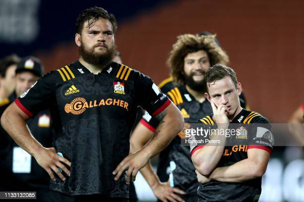 Angus Ta'avao and Brad Weber of the Chiefs look on after losing the round three Super Rugby match between the Chiefs and the Sunwolves at FMG Stadium...