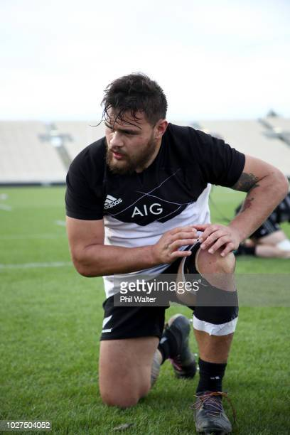 Angus Ta'avao of the All Blacks warms up during a New Zealand All Blacks training session at Trafalgar Park on September 6 2018 in Nelson New Zealand