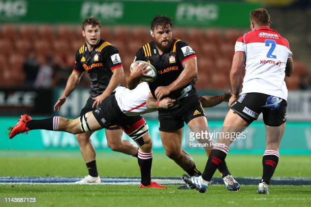 Angus Ta'avao of the Chiefs charges forward during the round 10 Super Rugby match between the Chiefs and the Lions at FMG Stadium on April 19 2019 in...