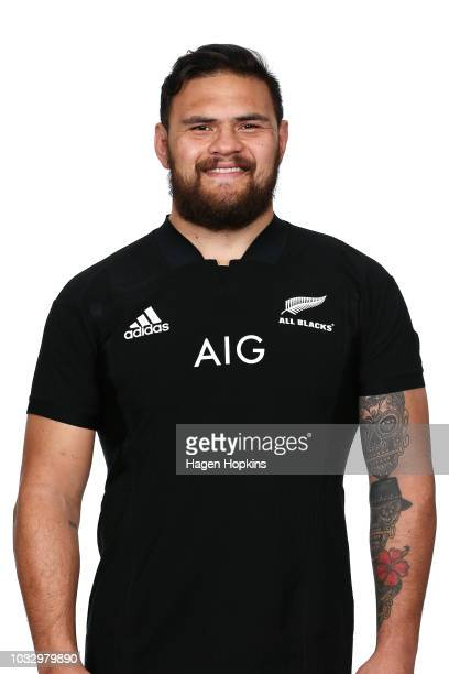Angus Ta'avao poses during a New Zealand All Blacks headshots session on September 14 2018 in Wellington New Zealand